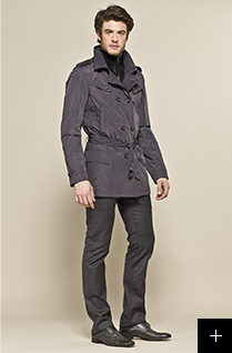 Trench gris homme