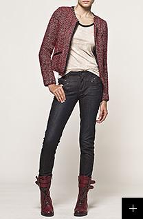 Jean slim femme et veste en tweed