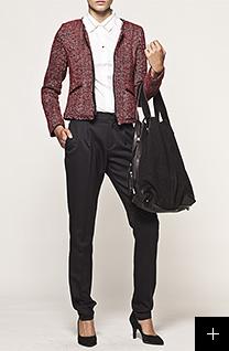 Pantalon et veste rouge femme